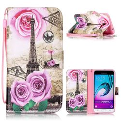 Rose Eiffel Tower Leather Wallet Phone Case for Samsung Galaxy J3