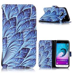 Blue Feather Leather Wallet Phone Case for Samsung Galaxy J3