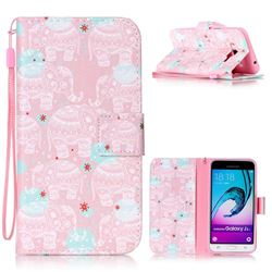 Pink Elephant Leather Wallet Phone Case for Samsung Galaxy J3