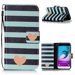 Blue Stripe Heart Leather Wallet Phone Case for Samsung Galaxy J3