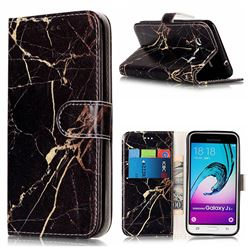 Black Gold Marble PU Leather Wallet Case for Samsung Galaxy J3 2016 J320