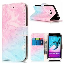 Pink Green Marble PU Leather Wallet Case for Samsung Galaxy J3 2016 J320