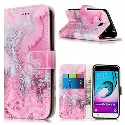 Pink Seawater PU Leather Wallet Case for Samsung Galaxy J3 2016 J320