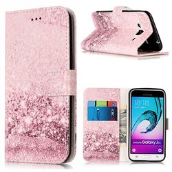 Glittering Rose Gold PU Leather Wallet Case for Samsung Galaxy J3 2016 J320
