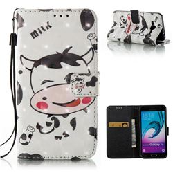 Milk Cow 3D Painted Leather Wallet Case for Samsung Galaxy J3 2016 J320