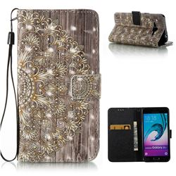 Golden Flower 3D Painted Leather Wallet Case for Samsung Galaxy J3 2016 J320