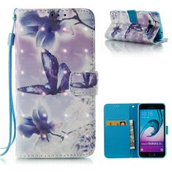Butterfly Flower 3D Painted Leather Wallet Case for Samsung Galaxy J3 2016 J320