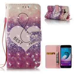 Heart Friend 3D Painted Leather Wallet Case for Samsung Galaxy J3 2016 J320