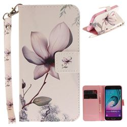 Magnolia Flower Hand Strap Leather Wallet Case for Samsung Galaxy J3 2016 J320