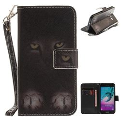 Mysterious Cat Hand Strap Leather Wallet Case for Samsung Galaxy J3 2016 J320
