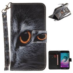 Cat Eye Hand Strap Leather Wallet Case for Samsung Galaxy J3 2016 J320