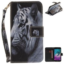 White Tiger Hand Strap Leather Wallet Case for Samsung Galaxy J3 2016 J320