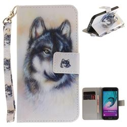 Snow Wolf Hand Strap Leather Wallet Case for Samsung Galaxy J3 2016 J320