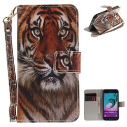 Siberian Tiger Hand Strap Leather Wallet Case for Samsung Galaxy J3 2016 J320