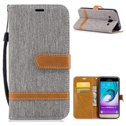 Jeans Cowboy Denim Leather Wallet Case for Samsung Galaxy J3 2016 J320 - Gray
