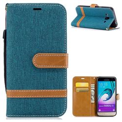 Jeans Cowboy Denim Leather Wallet Case for Samsung Galaxy J3 2016 J320 - Green