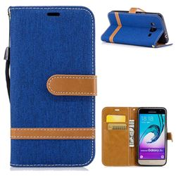 Jeans Cowboy Denim Leather Wallet Case for Samsung Galaxy J3 2016 J320 - Sapphire
