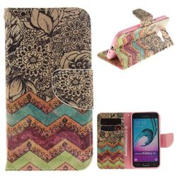 Wave Flower PU Leather Wallet Case for Samsung Galaxy J3 2016 J320
