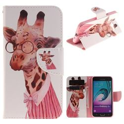 Pink Giraffe PU Leather Wallet Case for Samsung Galaxy J3 2016 J320