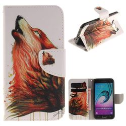 Color Wolf PU Leather Wallet Case for Samsung Galaxy J3 2016 J320