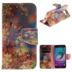 Colored Flowers PU Leather Wallet Case for Samsung Galaxy J3 2016 J320