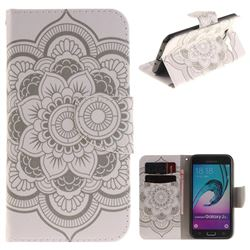 White Flowers PU Leather Wallet Case for Samsung Galaxy J3 2016 J320