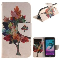 Colored Tree PU Leather Wallet Case for Samsung Galaxy J3 2016 J320