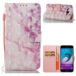 Pink Marble 3D Painted Leather Wallet Case for Samsung Galaxy J3 2016 J320