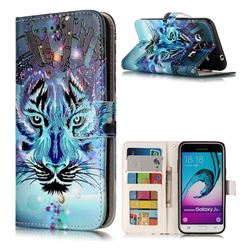 Ice Wolf 3D Relief Oil PU Leather Wallet Case for Samsung Galaxy J3 2016 J320