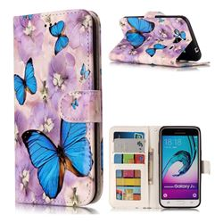 Purple Flowers Butterfly 3D Relief Oil PU Leather Wallet Case for Samsung Galaxy J3 2016 J320