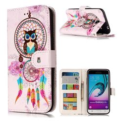 Wind Chimes Owl 3D Relief Oil PU Leather Wallet Case for Samsung Galaxy J3 2016 J320
