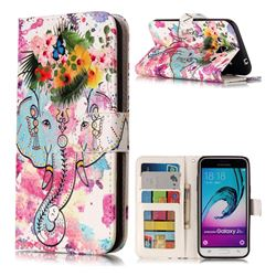 Flower Elephant 3D Relief Oil PU Leather Wallet Case for Samsung Galaxy J3 2016 J320