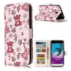 Cute Bear 3D Relief Oil PU Leather Wallet Case for Samsung Galaxy J3 2016 J320