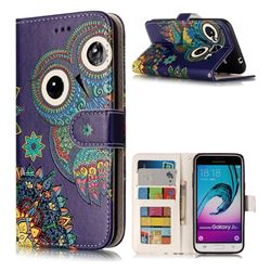 Folk Owl 3D Relief Oil PU Leather Wallet Case for Samsung Galaxy J3 2016 J320