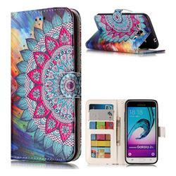 Mandala Flower 3D Relief Oil PU Leather Wallet Case for Samsung Galaxy J3 2016 J320