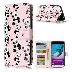 Cute Panda 3D Relief Oil PU Leather Wallet Case for Samsung Galaxy J3 2016 J320