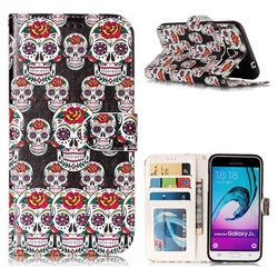 Flower Skull 3D Relief Oil PU Leather Wallet Case for Samsung Galaxy J3 2016 J320