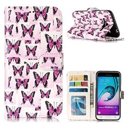 Butterflies Stickers 3D Relief Oil PU Leather Wallet Case for Samsung Galaxy J3 2016 J320