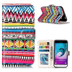 Tribal Pattern 3D Relief Oil PU Leather Wallet Case for Samsung Galaxy J3 2016 J320