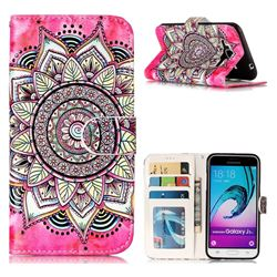Rose Mandala 3D Relief Oil PU Leather Wallet Case for Samsung Galaxy J3 2016 J320