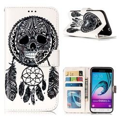 Wind Chimes Skull 3D Relief Oil PU Leather Wallet Case for Samsung Galaxy J3 2016 J320