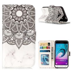 Marble Mandala 3D Relief Oil PU Leather Wallet Case for Samsung Galaxy J3 2016 J320