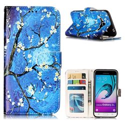 Plum Blossom 3D Relief Oil PU Leather Wallet Case for Samsung Galaxy J3 2016 J320