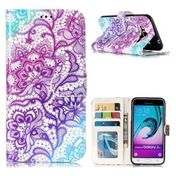 Purple Lotus 3D Relief Oil PU Leather Wallet Case for Samsung Galaxy J3 2016 J320