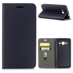 Tree Bark Pattern Automatic suction Leather Wallet Case for Samsung Galaxy J3 2016 J320 - Black