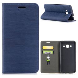 Tree Bark Pattern Automatic suction Leather Wallet Case for Samsung Galaxy J3 2016 J320 - Blue