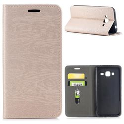 Tree Bark Pattern Automatic suction Leather Wallet Case for Samsung Galaxy J3 2016 J320 - Champagne Gold