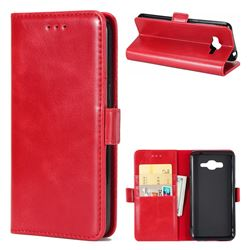 Luxury Crazy Horse PU Leather Wallet Case for Samsung Galaxy J3 2016 J320 - Red