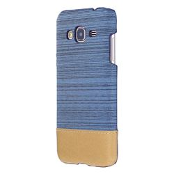 Canvas Cloth Coated Plastic Back Cover for Samsung Galaxy J3 2016 J320 - Light Blue
