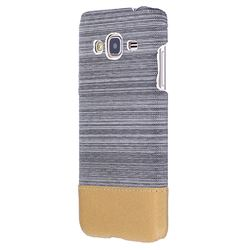Canvas Cloth Coated Plastic Back Cover for Samsung Galaxy J3 2016 J320 - Light Grey
